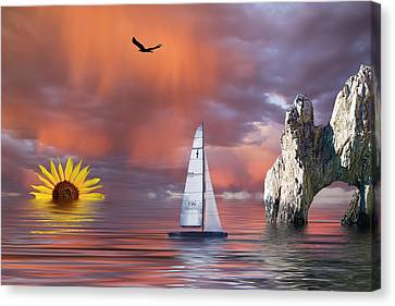 Sailing At Sunset Canvas Print by Shane Bechler