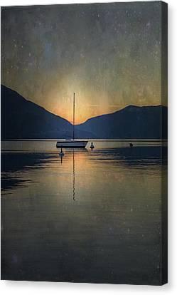 Sailing Boat At Night Canvas Print by Joana Kruse