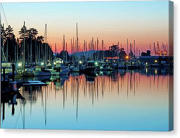 Sailing Boats In Coal Harbour Canvas Print by Dean Bouchard (Being There Photography)