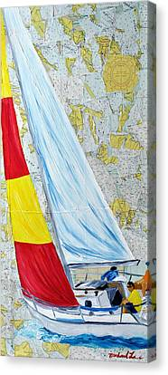 Sailing From The Charts Canvas Print by Michael Lee