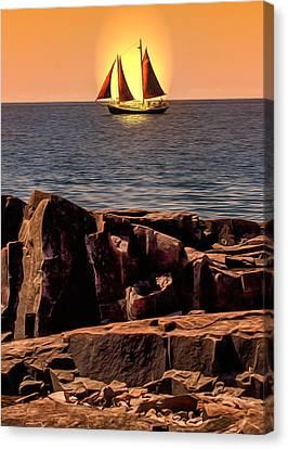Sailing In Grand Marais Canvas Print by Bill Tiepelman