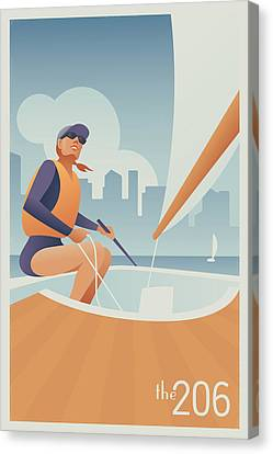 Sailing Lake Union In Seattle Canvas Print by Mitch Frey