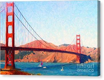 Sailing Under The Golden Gate Bridge Canvas Print by Wingsdomain Art and Photography
