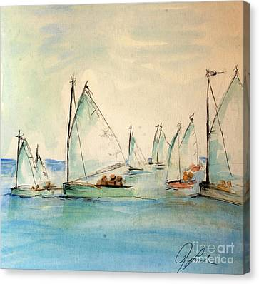 Sailors In A Runabout Canvas Print by Julie Lueders