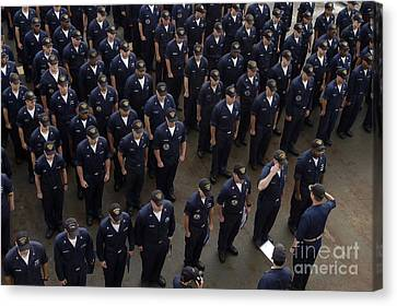 Sailors Stand At Attention During An Canvas Print by Stocktrek Images