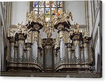 Saint Barbara Church - Organ Loft And Stained Glass In The Churc Canvas Print by Michal Boubin