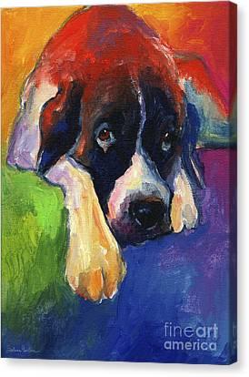 Saint Bernard Dog Colorful Portrait Painting Print Canvas Print by Svetlana Novikova