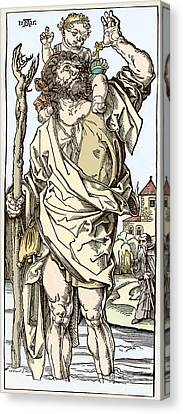 Saint Christopher Carrying Christ Child Canvas Print by Sheila Terry