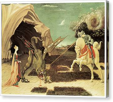 Saint George And The Dragon Canvas Print by Paolo Uccello