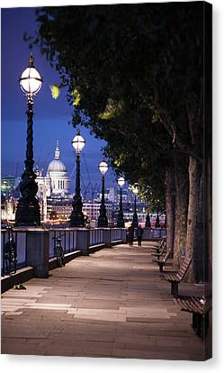 Saint Paul's Cathedral As Seen From The Queen's Walk Along The Thames River In London.  2007. Canvas Print by Uyen Le