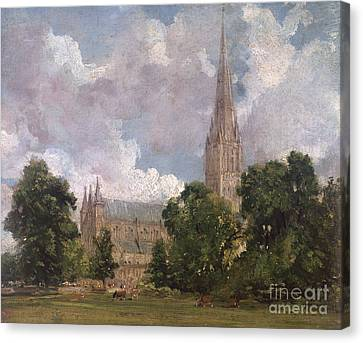 Salisbury Cathedral From The South West Canvas Print by John Constable