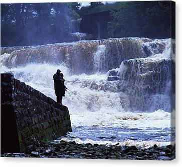 Salmon Fishing, Ballisodare River, Co Canvas Print by The Irish Image Collection