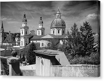 Salzburg Black And White Austria Europe Canvas Print by Sabine Jacobs