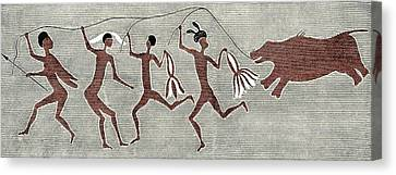 San Bushmen Rain Dance, Artwork Canvas Print by Sheila Terry