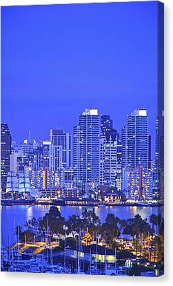 San Diego Skyline And Harbour Island Canvas Print by Stuart Westmorland