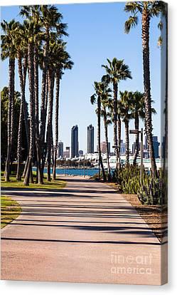 San Diego Skyline With Coronado Island Bayshore Bikeway Canvas Print by Paul Velgos