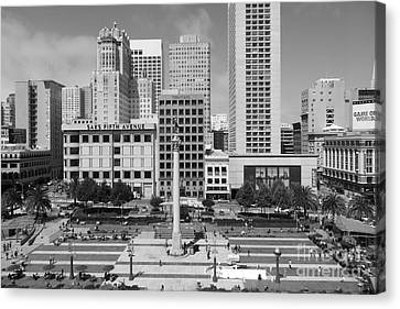 San Francisco - Union Square - 5d17938 - Black And White Canvas Print by Wingsdomain Art and Photography