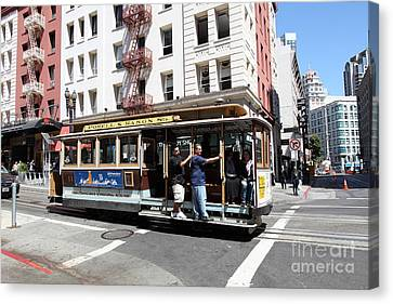 San Francisco Cable Car On Powell Street - 5d17957 Canvas Print by Wingsdomain Art and Photography