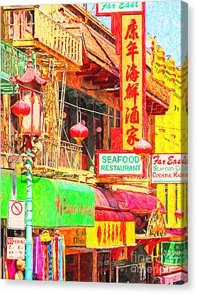 San Francisco Chinatown Shops Canvas Print by Wingsdomain Art and Photography