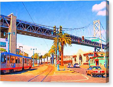 San Francisco Embarcadero And The Bay Bridge Canvas Print by Wingsdomain Art and Photography
