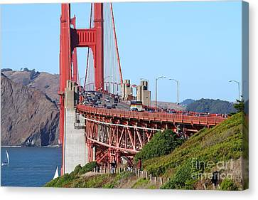 San Francisco Golden Gate Bridge . 7d8151 Canvas Print by Wingsdomain Art and Photography