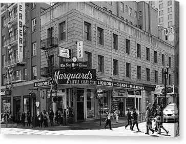 San Francisco Marquards Little Cigar Store Powell Street - 5d17950 - Black And White Canvas Print by Wingsdomain Art and Photography