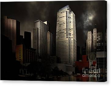 San Francisco Nights At The Yerba Buena Garden . 7d4262 Canvas Print by Wingsdomain Art and Photography