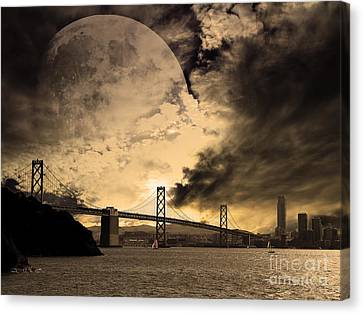 San Francisco Under The Moon Canvas Print by Wingsdomain Art and Photography
