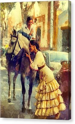 San Miguel Fair In Torremolinos Canvas Print by Jenny Rainbow
