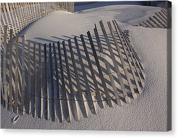 Sand Fence On The Beach In Destin Canvas Print by Marc Moritsch