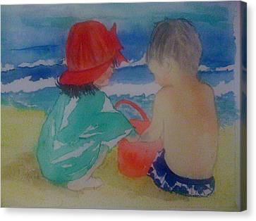 Sand Play Canvas Print by Judi Goodwin