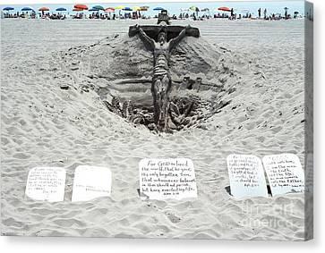 Sand Sculpture Christ On The Cross Canvas Print by Thomas R Fletcher