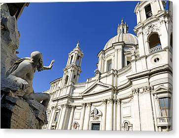 Sant' Agnese In Agone. Piazza Navona. Rome Canvas Print by Bernard Jaubert
