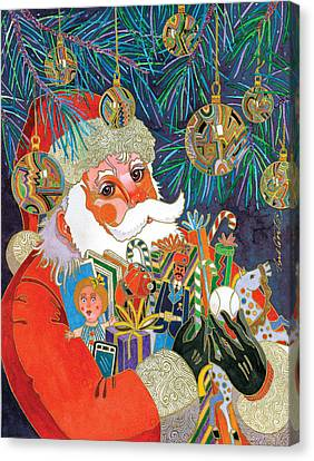 Santa And Gifts Canvas Print by Bob Coonts