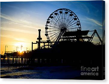 Santa Monica Pier Ferris Wheel Sunset Southern California Canvas Print by Paul Velgos