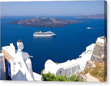 Santorini Cruising Canvas Print by Meirion Matthias