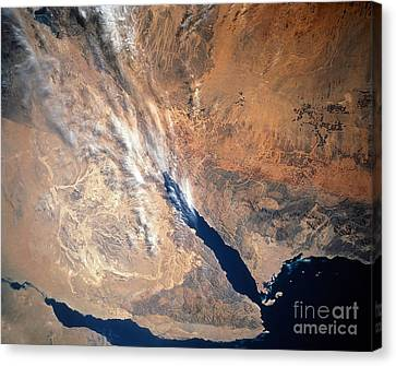 Satellite Image Of Land Canvas Print by Stocktrek Images