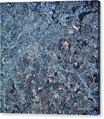 Satellite View Of Charlotte, North Canvas Print by Stocktrek Images
