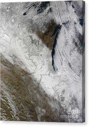 Satellite View Of Snow And Cold Canvas Print by Stocktrek Images