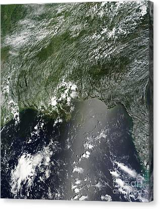 Satellite View Of The Gulf Of Mexico Canvas Print by Stocktrek Images