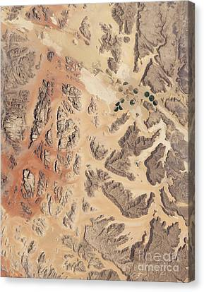 Satellite View Of Wadi Rum Canvas Print by Stocktrek Images