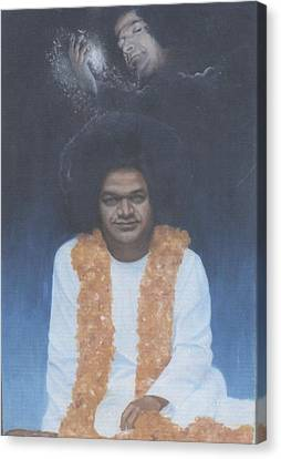 Sathya Sai Baba Divine II Canvas Print by Anne Provost