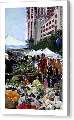 Saturday Morning Market Canvas Print by Barry Rothstein