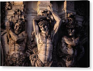 Satyr Figures As Pilasters Decorating Canvas Print by Gordon Gahan