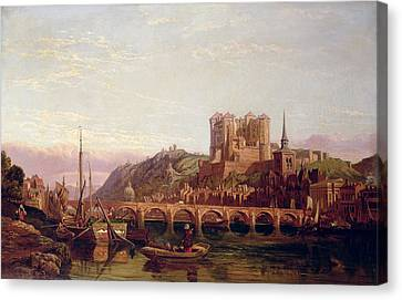 Saumur -  By The Loire Valley  Canvas Print by George Clarkson Stanfield