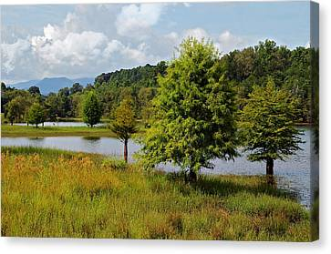 Scenic Lake With Mountains Canvas Print by Susan Leggett
