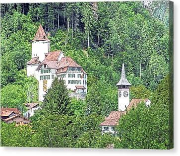 Schloss Wimmis And Church Switzerland Canvas Print by Joseph Hendrix