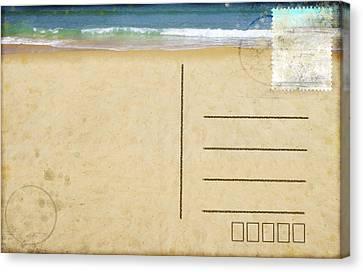 Sea Beach On Postcard  Canvas Print by Setsiri Silapasuwanchai