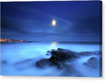 Seascape And Moonrise Canvas Print by Angus Clyne