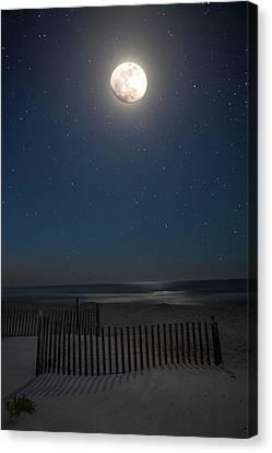 Seaside Moonset Canvas Print by Charles Warren